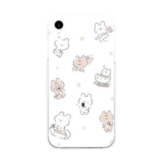 しろくまななみん 総柄 Soft clear smartphone cases