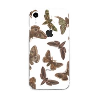 英国の蛾 Soft clear smartphone cases