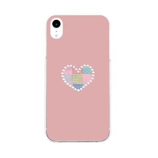 パッチワーク&パールハート(ピンク) Soft clear smartphone cases