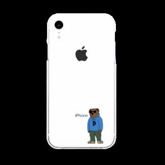DaggaのBear sweat Soft clear smartphone cases