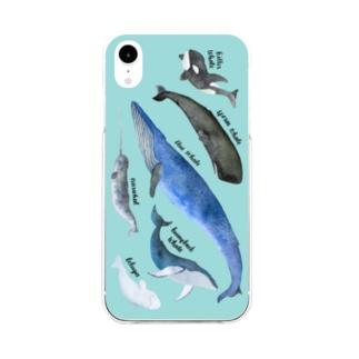 クジラまみれ Soft clear smartphone cases