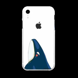 Kinkadesign うみのいきものカワイイShopのシャチのスパイホップ Type C Soft clear smartphone cases