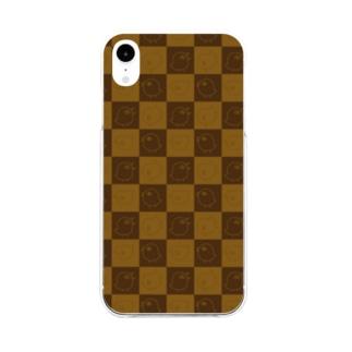 格子トリンちゃん柄茶 Soft clear smartphone cases
