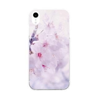桜色に染めてみる Soft clear smartphone cases