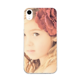 セピアなフラワーガール Soft clear smartphone cases