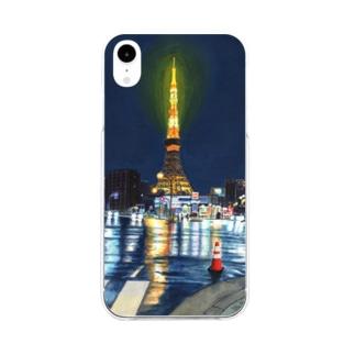 東京タワー×カラーコーン Soft clear smartphone cases