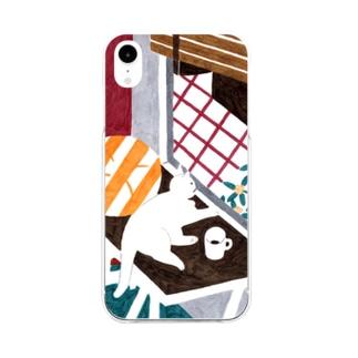 hk_illustrationのねこちゃんとキンモクセイ Soft clear smartphone cases