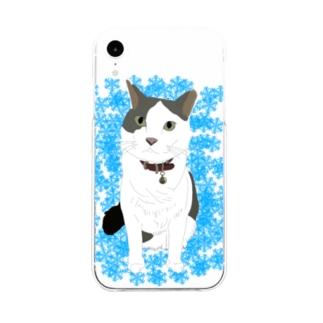 雪の結晶とネコ Soft clear smartphone cases
