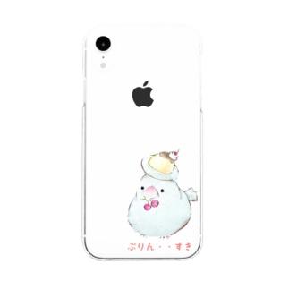 「ぷりん・・すき」な文鳥さん Soft clear smartphone cases