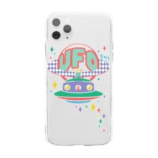 宇宙にきらめく宇宙人★未確認飛行物体★UFO★‐カラフル Soft clear smartphone cases