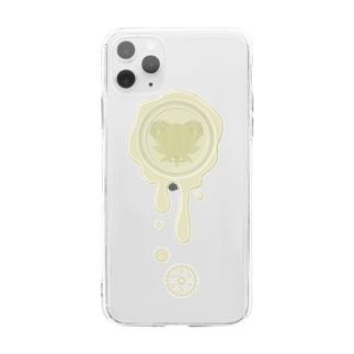 チョコ好きさんへ♪【ホワイトチョコ】healing-honey蝋封風ロゴモチーフ Soft clear smartphone cases
