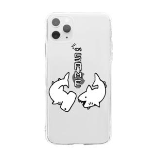 らくがきシリーズ-サメさんとシュモクザメさん-白黒 Soft clear smartphone cases