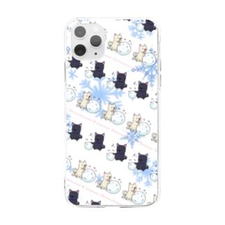 雪遊び Soft clear smartphone cases