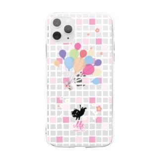 *suzuriDeMonyaa.tag*の1902 やみねこ*風船の種 Soft clear smartphone cases