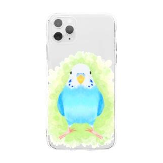 セキセイインコ ブルー【まめるりはことり】 Soft clear smartphone cases