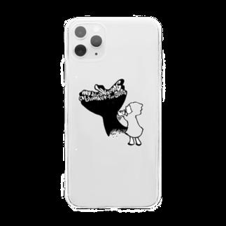 鳥と毛布の影絵 Soft clear smartphone cases