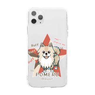 ぽめるはポメラニアン Soft clear smartphone cases