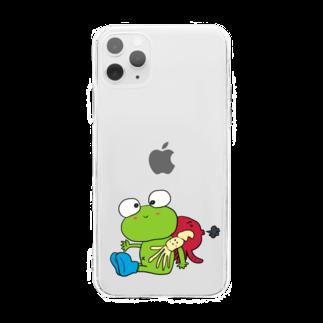 ぺけ丸のかえる いか たこ Soft clear smartphone cases