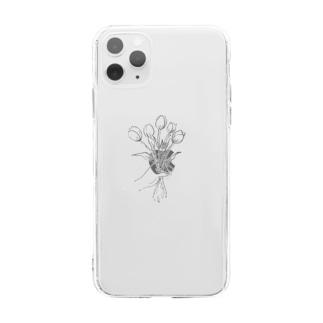 チューリップのブーケ(モノクロ) Soft clear smartphone cases