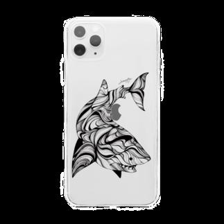 繁田穂波のホホジロザメ/スマホケース Soft clear smartphone cases