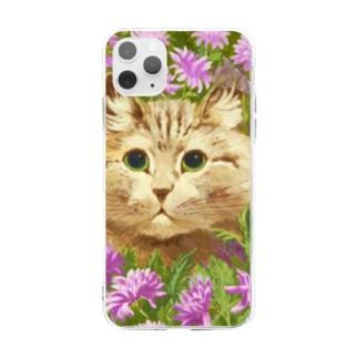 花々にうずもれたネコ Soft Clear Smartphone Case