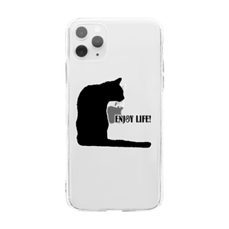 猫と釣り人のCAT_21_1KW Soft clear smartphone cases