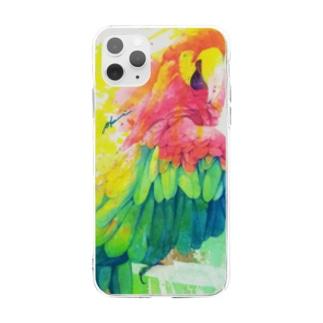 ひとり美しい赤い鳥 Soft clear smartphone cases