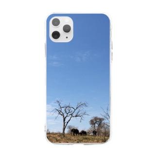 ゾウと空 Soft clear smartphone cases