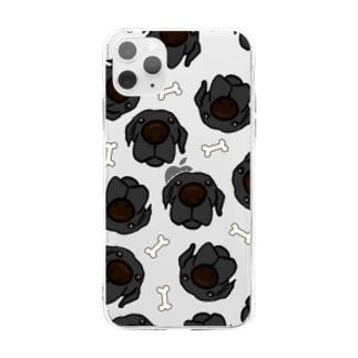 黒ラブたくさん Soft clear smartphone cases