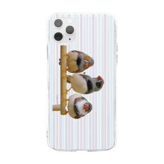 3羽キンカ(すとらいぷ) Soft clear smartphone cases