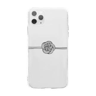 梅 結び Soft clear smartphone cases