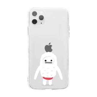 雪男のユキオ Soft clear smartphone cases