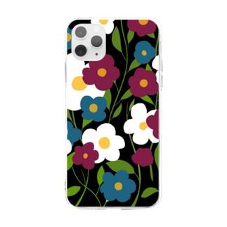 レトロフラワー Soft clear smartphone cases