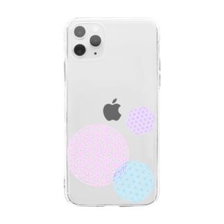 フラワーオブライフ Soft clear smartphone cases