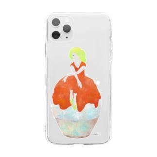 かき氷娘(プラム) Soft clear smartphone cases