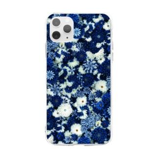 つまみ細工紋様 瑠璃×月白 Soft clear smartphone cases