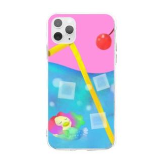 クリームソーダの海とアマビエ Soft clear smartphone cases