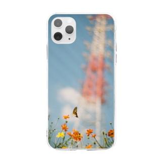 鉄塔と蝶 Soft clear smartphone cases