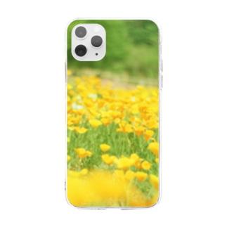 黄色の花畑 Soft clear smartphone cases