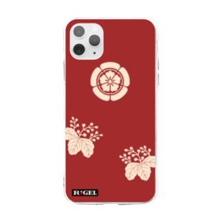木瓜桐文緋羅紗陣羽織柄 ソフトクリアスマホケース Soft clear smartphone cases