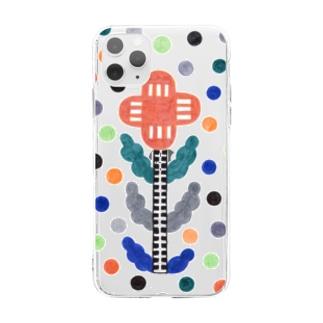 hk_illustrationのFlower_dots Soft clear smartphone cases