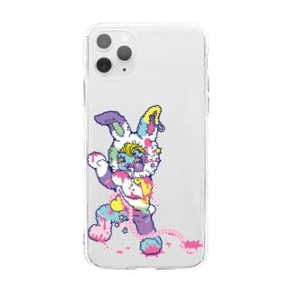 うさぎのラビ★スリラーハロウィン-ゾンビ-パステル Soft clear smartphone cases