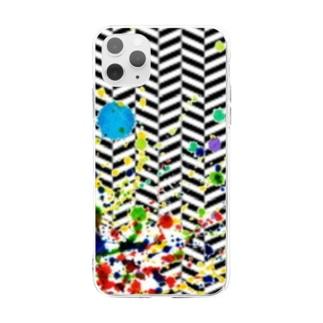 ヘリンボーン カラースパッタリングデザイン Soft clear smartphone cases