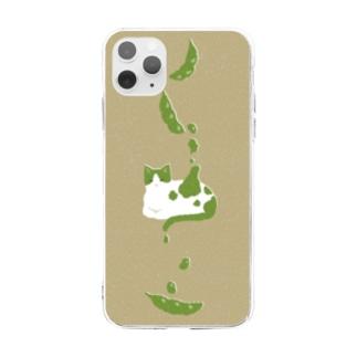 ずんだ猫 Soft clear smartphone cases