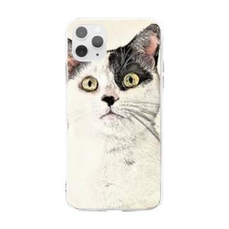鼻ブチ猫ちゃんスケッチ風 Soft clear smartphone cases