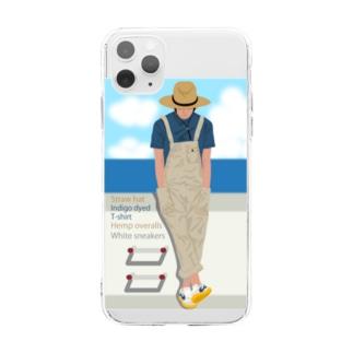 麦わら帽の青年と海 スマホ用 Soft clear smartphone cases