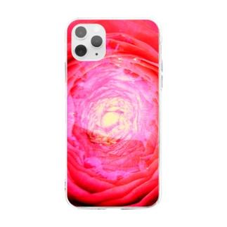 赤い花の器02 Soft clear smartphone cases