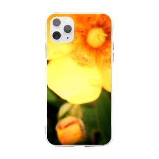 イエローフラワー Soft clear smartphone cases