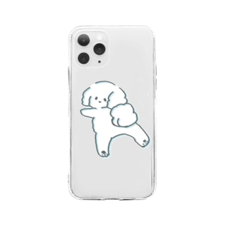 ふわふわトイプードル1 Soft clear smartphone cases