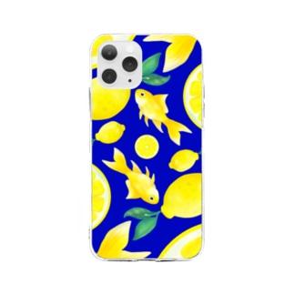 檸檬と金魚_青 Soft clear smartphone cases